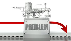 Problem concept with graph and machine. Problem business concept with graph and machine Stock Photo