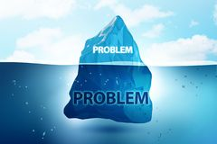 The problem concept with iceberg - 3d rendering. Problem concept with iceberg - 3d rendering stock illustration