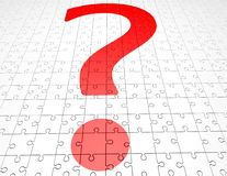 Problem concept with question mark and jigsaw puzzles Stock Images