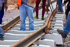 Problem construction of the railway. Stock Photo
