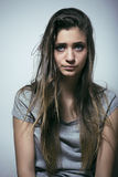 Problem depressioned teenage with messed hair and sad face Royalty Free Stock Photography