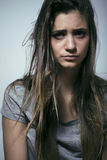 Problem depressioned teenage with messed hair and sad face Royalty Free Stock Images