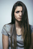 Problem depressioned teenage with messed hair and sad face Stock Photos