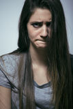 Problem depressioned teenage with messed hair and sad face Royalty Free Stock Image