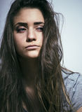 Problem depressioned teenage with messed hair and sad face, junk Royalty Free Stock Photography
