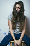 Problem depressioned teenage with messed hair and Royalty Free Stock Photo