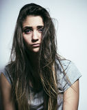Problem depressioned teenage with messed hair and sad face, real Royalty Free Stock Photos