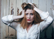 Problem depressioned teenage with messed hair and Royalty Free Stock Images