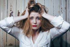 Problem depressioned teenage with messed hair and Royalty Free Stock Photography
