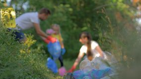 Problem of domestic waste, mother and father with little daughter collects garbage into trash bag in unfocused while. Cleaning nature from plastic and stock video footage