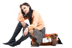 Problem domicile. Image of young woman having depression and thinking Stock Images