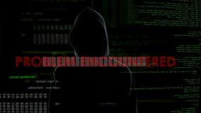 Problem encountered warning about unsuccessful hacking attempt on server data. Stock footage stock footage