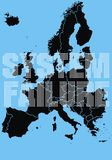 Problem in Europe. On the blue background Royalty Free Stock Photo
