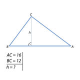The problem of finding the height of a right triangle by the Pythagorean theorem Royalty Free Stock Image