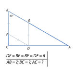 Problem of finding the sides of the triangle ABC Stock Photo