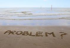 PROBLEM geschrieben auf den Strand Lizenzfreies Stockfoto