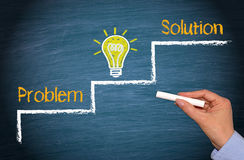 Problem, Idea and Solution - creativity and success concept. With light bulb and text on blue background royalty free stock image
