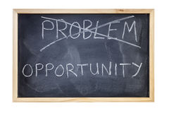 Problem is Opportunity Blackboard Concept. Blackboard with the word problem crossed out, opportunity replacing it. Not a problem, an opportunity Stock Photos