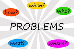 Problem questions. Trying to solve the problem by asking the right questions Royalty Free Stock Photo