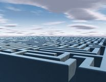 Problem, questions abstract idea with 3d maze. And sky in background Royalty Free Stock Photography