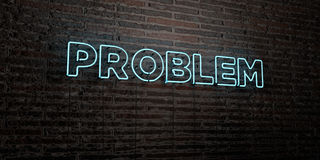 PROBLEM -Realistic Neon Sign on Brick Wall background - 3D rendered royalty free stock image. Can be used for online banner ads and direct mailers Stock Illustration