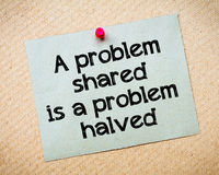 A problem shared is a problem halved Stock Photos