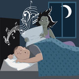 Problem with snoring. Man sleeping and snoring, his annoyed wife preparing to smother him with a pillow, vector illustration Stock Photography