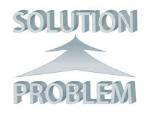 Problem and solution. Diagram with words problem and solution, depicting problem solving stock illustration