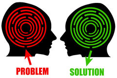 Problem and solution. Thinking about a problem and finding a solution Royalty Free Stock Images