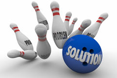 Problem Solution Bowling Ball Pins Strike Solved Royalty Free Stock Photo