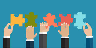 The problem solution or business organisation concept. Hands holding five jigsaw puzzle pieces together. The problem solution or business organisation concept vector illustration