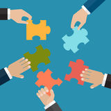 The problem solution or business organisation concept. Hands put five jigsaw puzzle pieces together. The problem solution or business organisation concept stock illustration