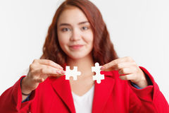 Problem solution concept flat.Man`s hand places last detail of puzzle in jigsaw. Concept: diversity, team work and access solutio Royalty Free Stock Photos
