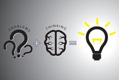 Problem solution concept - solving it using brain. Problem solution concept showing problems solving using brain by thinking and creativity. Question marks are Royalty Free Stock Image