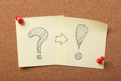 Problem And Solution. Concept sticky notes pinned on the corkboard royalty free stock photo