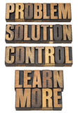 Problem, solution, control in wood type. Problem, solution, control, learn more - a collage of  isolated words in vintage letterpress wood type Royalty Free Stock Photos