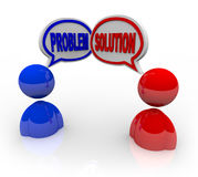 Problem and Solution Customer Support Service Help. Two people talking, with one bringing up a problem and the other offering a solution like a customer service Stock Photos