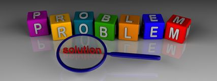 Problem solution. 3d rendering of problem word in colourful cubes and finding solution with magnifying glass Royalty Free Stock Photography