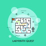 Problem solution and decision making concept, successful business strategy, labyrinth quest icon Royalty Free Stock Photos