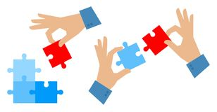 Hands with elements of puzzle. Teamwork and problem solution con. The problem solution flat illustration. Teamwork and success concept. Man`s hand places last Royalty Free Stock Images