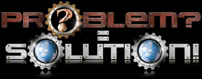 Problem and Solution Metal Gears. Written metal problem equal solution with gears and terrestrial globe on black background Royalty Free Stock Images