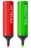 Problem and solution pen Stock Image