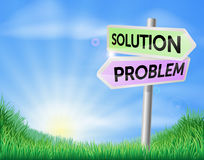 Problem and solution sign in field Royalty Free Stock Images