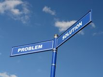 Problem and solution signpost. Two-way metal blue signpost with Problem and Solution text over blue sky Stock Photos