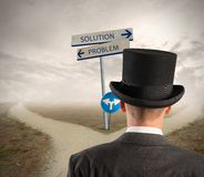Problem and solution way Stock Photo