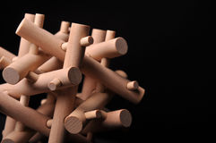 Problem solved, wooden puzzle. Wooden puzzle on black background Royalty Free Stock Image