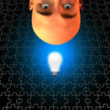 Problem Solver. Inverted Idea Man with light bulb Royalty Free Stock Photo