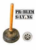 Problem solving. Concept through drain and plunger Royalty Free Stock Photography