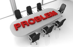 Problem solving. One office room with the word: problem, over the table (3d render Stock Images