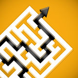 Problem Solving. Finding a path maze completion concept illustration stock illustration